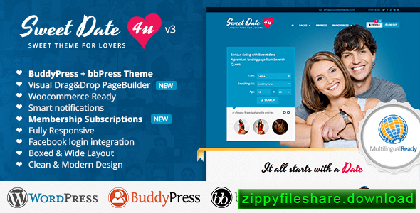 Sweet Date v3.2.4 – More than a WordPress Dating Theme